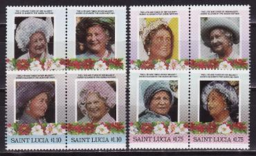 Saint Lucia, 1985, 85 years of the Queen Mother, 8v