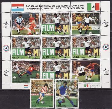 Paraguay, World Cup, 1986,  3v+minisheet, 1985 year