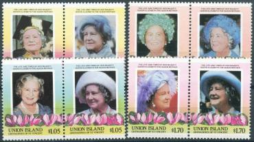 Union, 1985, 85 years of the Queen Mother, 8v