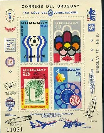 Uruguay, World Cup 1978, Olympic 1986, Space, 1976, s/s imperf